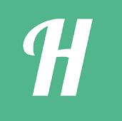 Helping Logo - Large white H on a green background