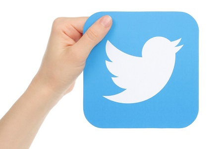 This image portrays the Twitter logo being held up by one hand