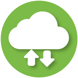 icon with cloud and download symbols