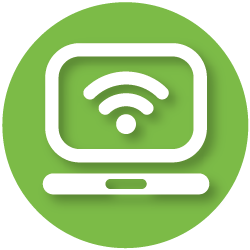 icon with laptop and wifi symbols