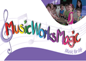music works magic logo - a treble clef followed by a wavy colourful rendering of the name